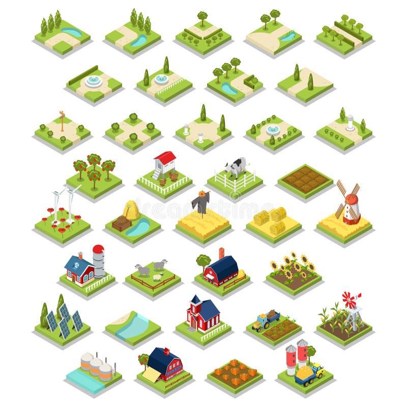 Den plana isometriska infographicslantgården för uppsättningen 3d anmärker för vektor illustrationer