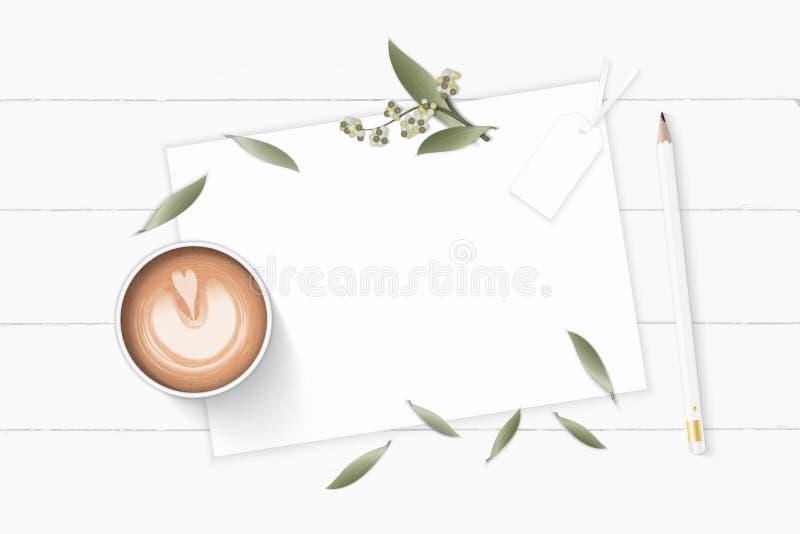 Den plana lekmanna- för sammansättningspapper för den bästa sikten eleganta vita blomman för bladet för växten för botaniska träd stock illustrationer