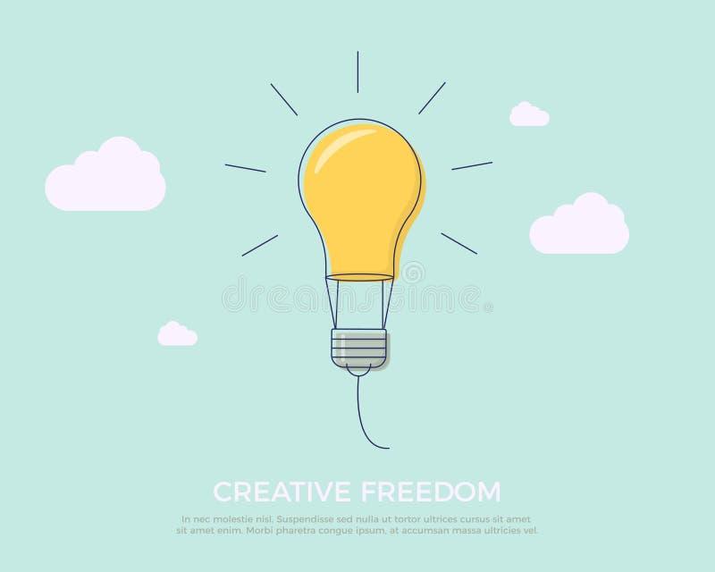 Den plana linjen designvektorillustration med flyglightbulben gillar luftballongen Vektorillustration för kreativitetfrihet stock illustrationer