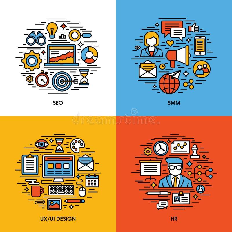 Den plana linjen symbolsuppsättning av SEO, SMM, UI och UX planlägger, royaltyfri illustrationer