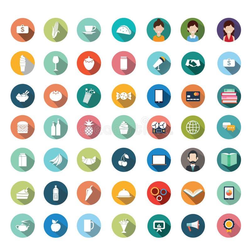 Den plana symbolen planlägger, symboler ställde in, app, mat, tecknad film royaltyfri illustrationer