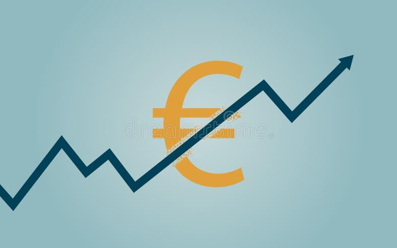 Den plana symbolsdesignen av uptrendlinjen pilen som bryter till och med eurovalutatecken på blått, färgar bakgrund vektor illustrationer