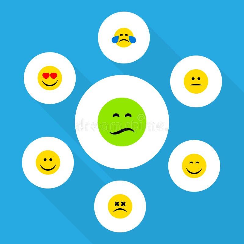Den plana symbolsEmoji uppsättningen av förälskelse, rynkar pannan, leendet och andra vektorobjekt Inkluderar också yr, lynnet, J stock illustrationer