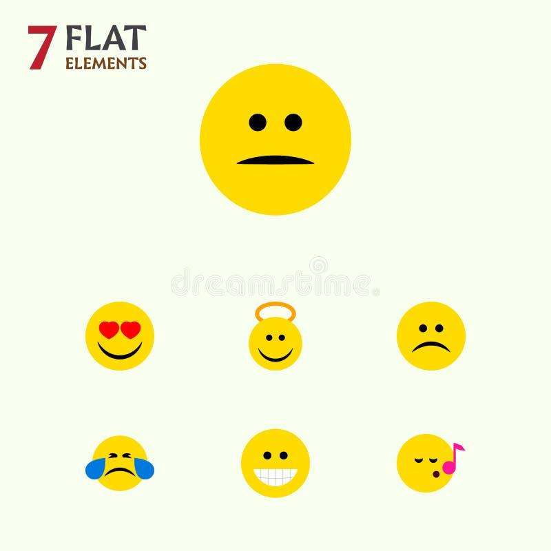 Den plana symbolsframsidauppsättningen av grinar, diskanten, förälskelse och andra vektorobjekt Inkluderar också hjärta, allsånge royaltyfri illustrationer