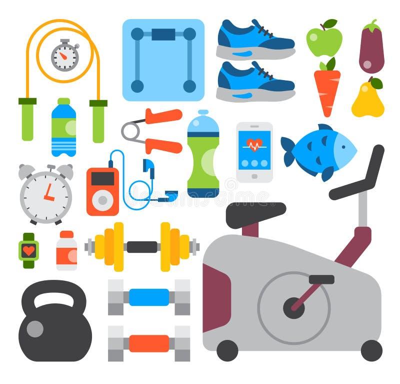 Den plana symbolsuppsättningen av konditionsporten och den sunda livsstilövningen bantar stil för modern design för kropp för mat vektor illustrationer