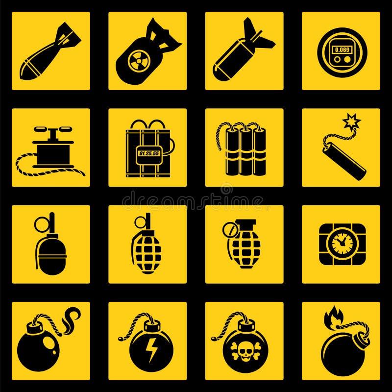 Den plana symbolsuppsättningen med bombarderar stock illustrationer