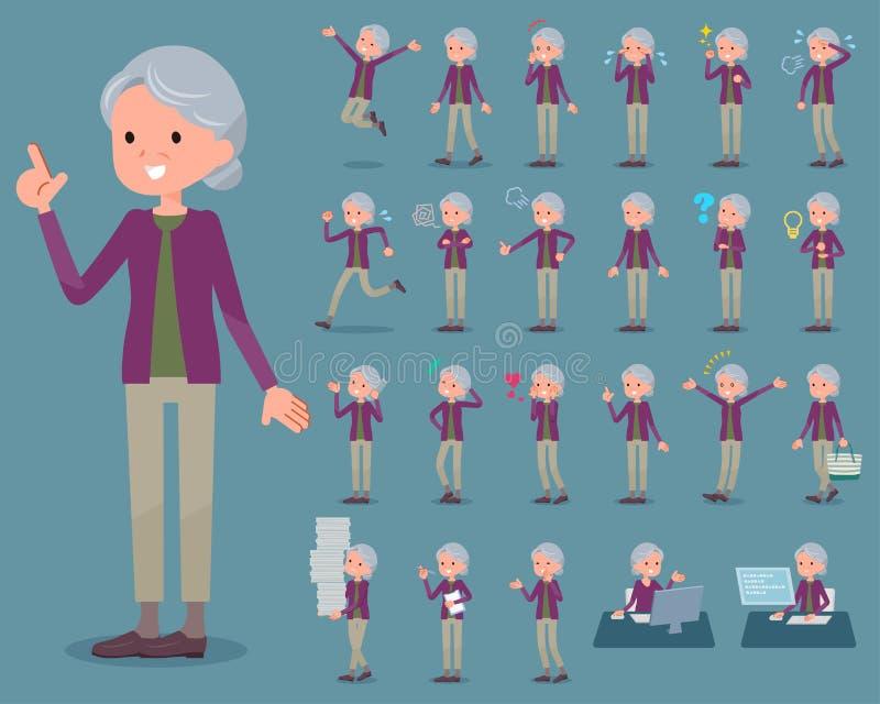 Den plana typlilan beklär grandmother_1 royaltyfri illustrationer