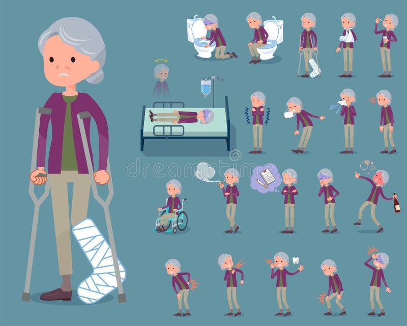 Den plana typlilan beklär grandmother_sickness royaltyfri illustrationer