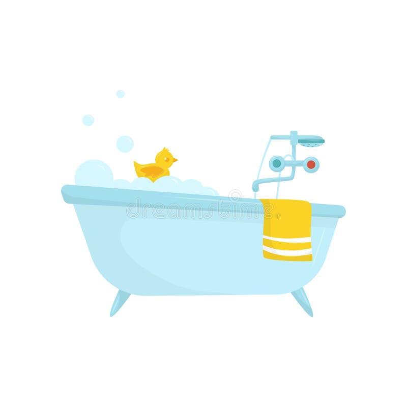 Den plana vektorsymbolen av blått badar med tvålskum, den rubber anden, den ljusa gula handduken, vattenkranen med förkylning och vektor illustrationer