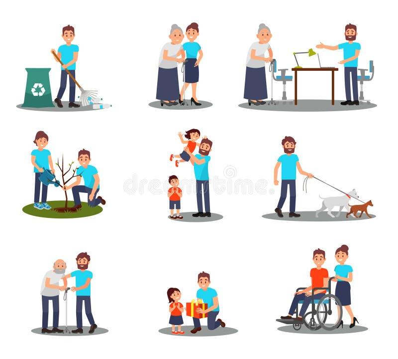 Den plana vektoruppsättningen av barn ställa upp som frivillig i handling som planterar trädet och att välja plast- flaskor och a vektor illustrationer