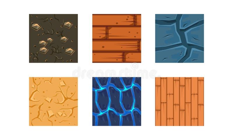 Den plana vektoruppsättningen av 6 färgrika texturer och material för plattform spelar Stenar, trä, jordning med ädelstenar, vatt vektor illustrationer