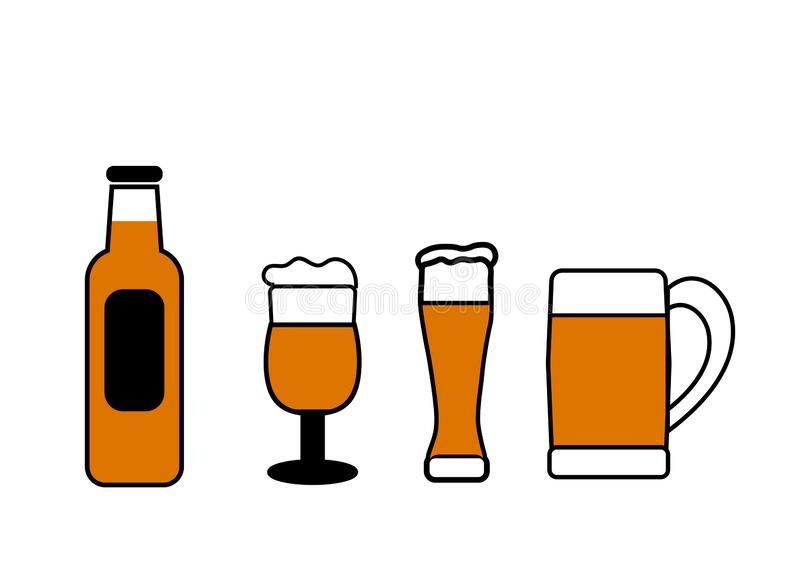 Den plana vektoruppsättningen av flaskor, exponeringsglas och rånar av öl royaltyfri illustrationer