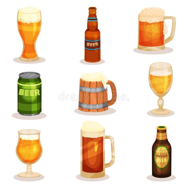 Den plana vektoruppsättningen av flaskor, exponeringsglas och rånar av öl alkoholiserad dryck Beståndsdelar för promoaffisch elle royaltyfri illustrationer
