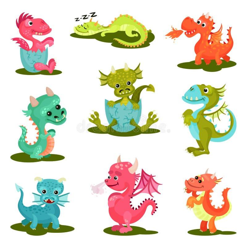 Den plana vektoruppsättningen av gulligt behandla som ett barn drakar mytiska varelser Fantastiska djur med vingar, horn och lång royaltyfri illustrationer