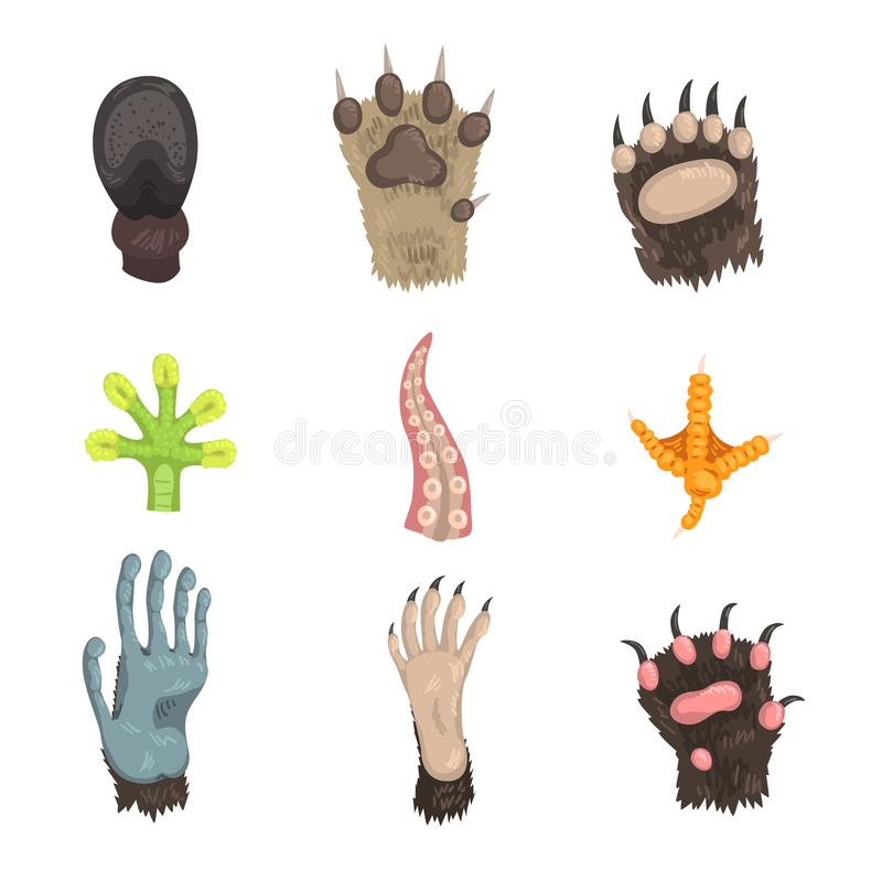 Den plana vektoruppsättningen av tafsar av olika djur: hund, björn, katt, groda, apa, fegt ben, hästklöv och tentakel av royaltyfri illustrationer