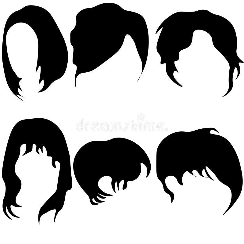 Den plana vektorupps?ttningen av kvinnor s heads med olika moderiktiga frisyrer L?nga och korta frisyrer stock illustrationer