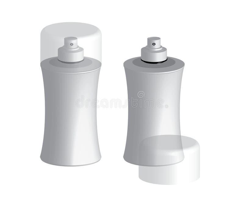 Den plast- sprejaren buteljerar behållarevektormallen royaltyfri illustrationer