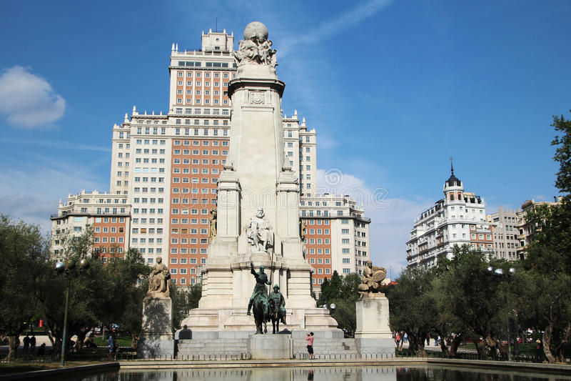 Den Plazade España Spanien fyrkanten, Madrid, Spanien arkivbild