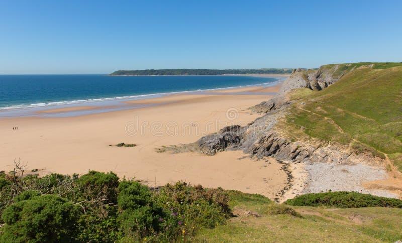 Den Pobbles stranden Gower Peninsula Wales UK den populära turist- destinationen och bredvid tre klippor skäller i sommar royaltyfria bilder