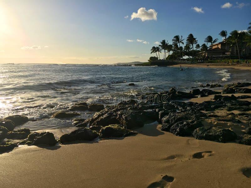 Den Poipu stranden parkerar arkivbild