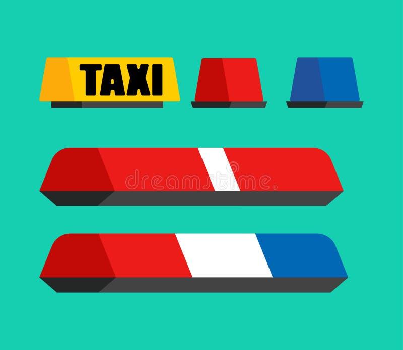 Den polis-, taxi- och ambulansbilblinkern ställde in ljust tecken för bil Vec vektor illustrationer