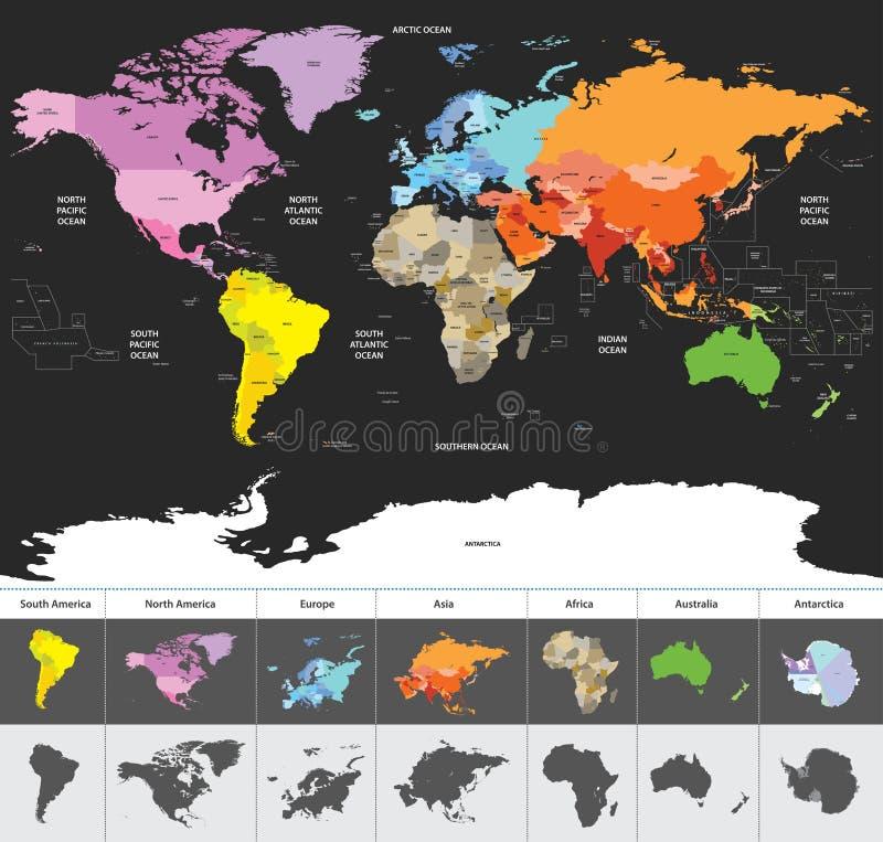 Den politiska världskartan av världen färgade vid kontinenter royaltyfri illustrationer