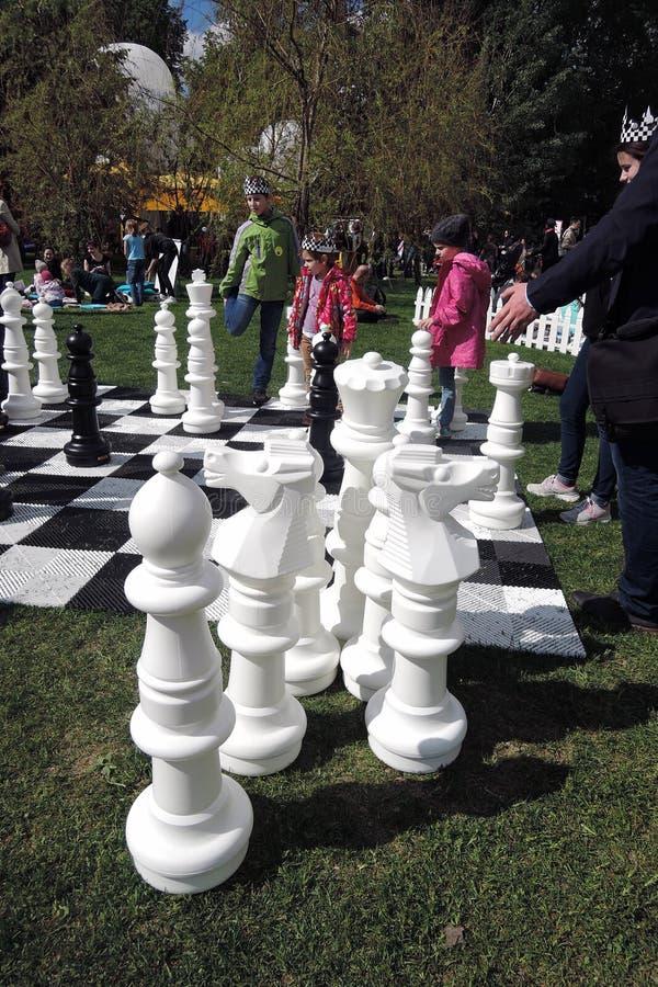 Den Polytech festivalen i Gorky parkerar, Moskva Enormt schack arkivbilder