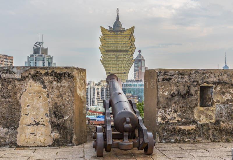 Den portugisiska arkitekturen av den gamla staden Macao, Kina royaltyfria foton