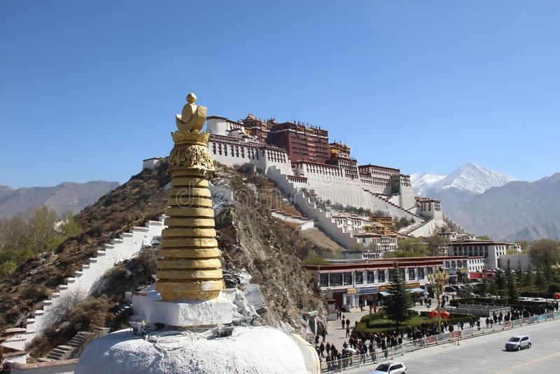 Den Potala slotten, Lhasa, Tibet, Kina arkivbild
