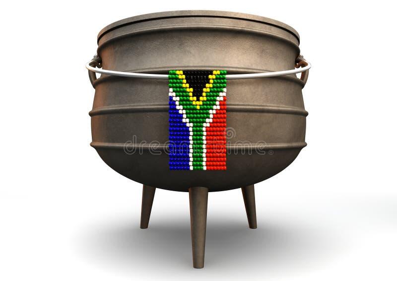 Den Potjie krukan med Zulu pryder med pärlor söder - afrikanen sjunker