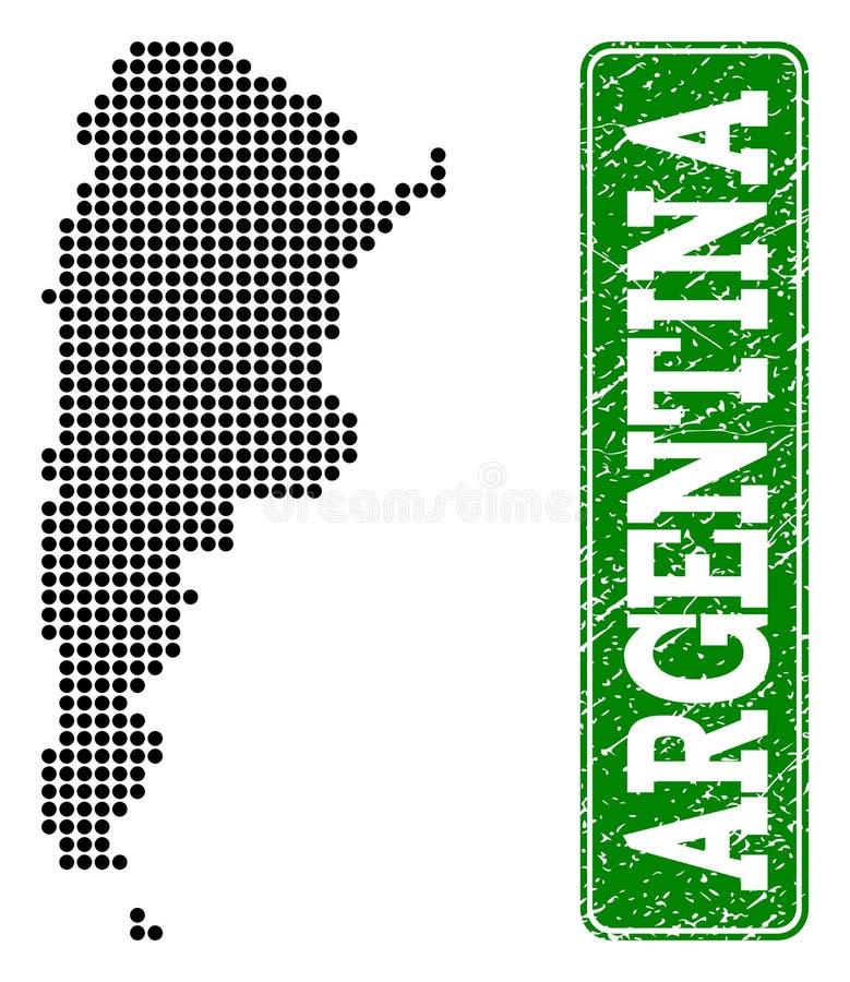 Den prack översikten av Argentina och Grungerektangeln rundade överskrift vektor illustrationer