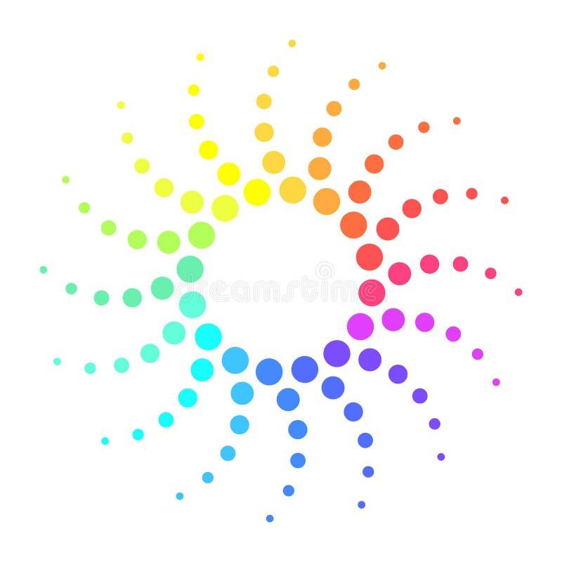 Den prack färgrika halvton snurrade strålar stock illustrationer