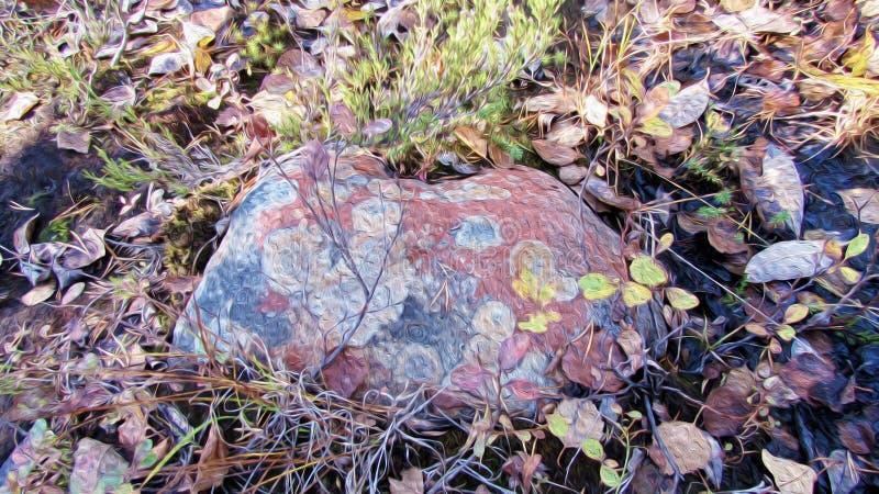 Den prickiga färgrika stenen som ligger i mossa och höst, vissnade lövverk, textur av olje- målning vektor illustrationer
