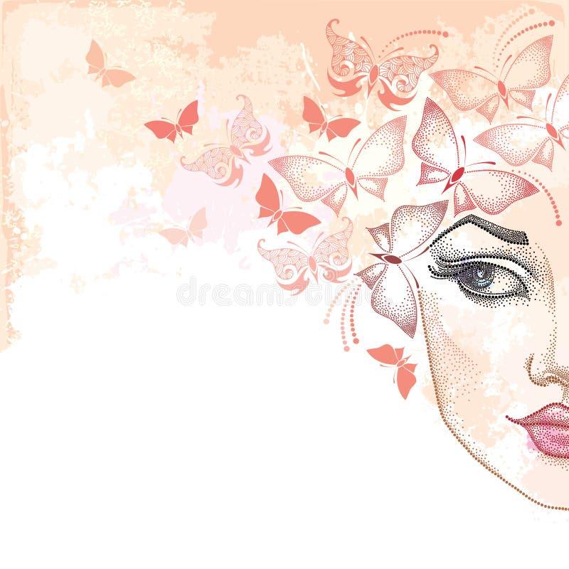Den prickiga halva härliga kvinnaframsidan på pastellet bläckar ner bakgrund med fjärilar i rosa färger royaltyfri illustrationer