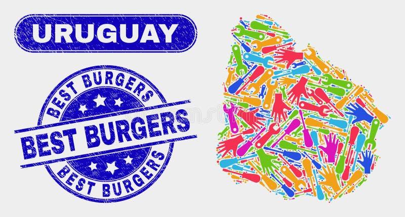 Den produktionUruguay översikten och skrapade bästa hamburgare stämplar skyddsremsor stock illustrationer