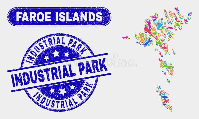 Den produktivitetsFaroe Island översikten och att bedröva industriellt parkerar stämplar royaltyfri illustrationer