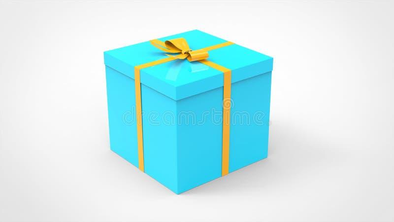Den propra blåa gåvaasken med den nätta gula pilbågen - semestra gåva stock illustrationer