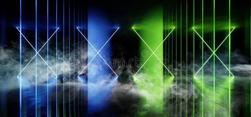 Den psykedeliska linjen Sci Fi röker vibrerande för konkret hall för Grunge för framtida mörk korridor för neonlaser-rymdskepp gl stock illustrationer