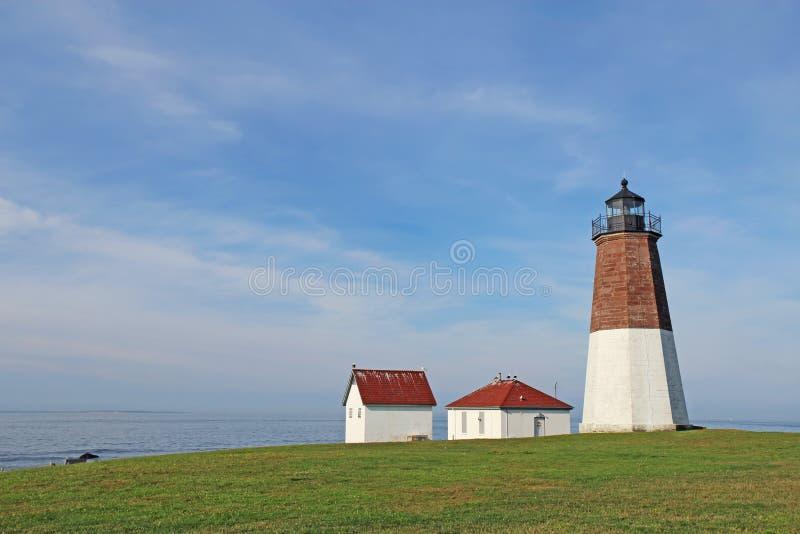 Den punktJudith lampan på den Rhode Island kusten royaltyfri bild