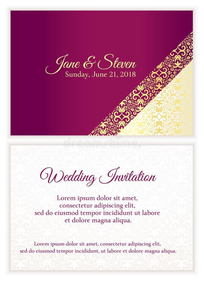 Den purpurfärgade bröllopinbjudan med lyxigt guld- snör åt vektor illustrationer