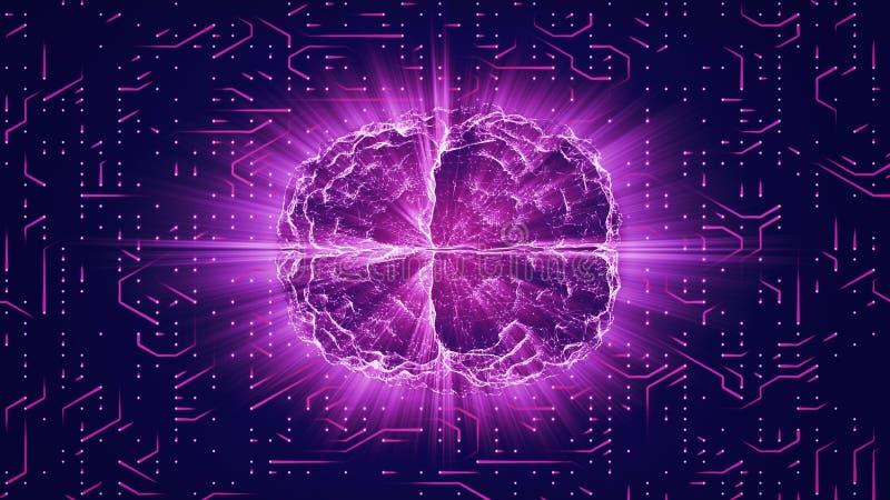 Den purpurfärgade glödande hjärnan band på nerv- yttersida eller elektroniska ledare stock illustrationer