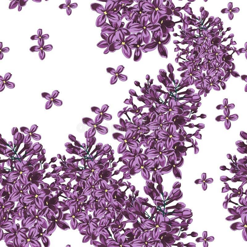 Den purpurfärgade lilan blommar och modellen för vektor för kronbladvattenfärgstil den sömlösa stock illustrationer