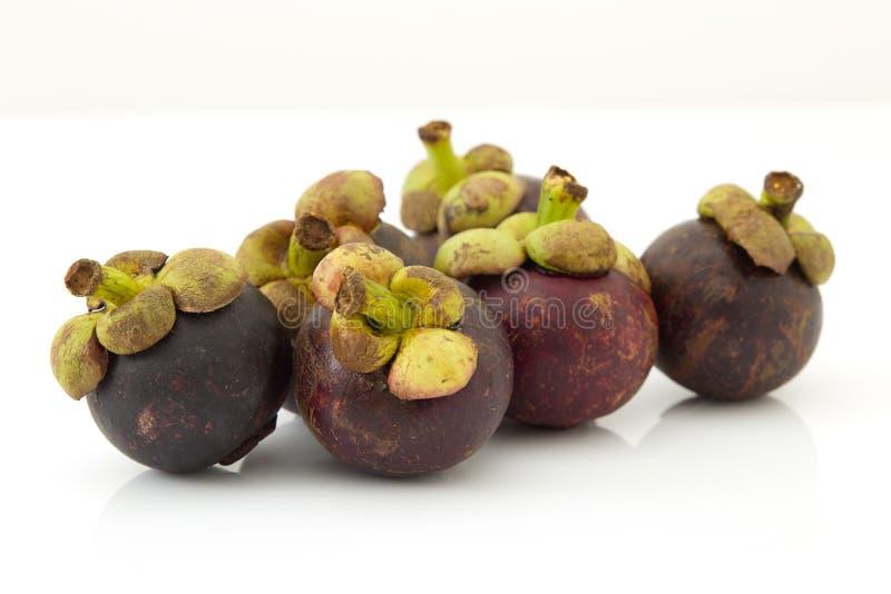 Den purpurfärgade mangosteenen på vit royaltyfri bild