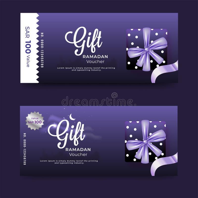 Den purpurfärgade presentkortbanerorienteringen ställde in med erbjudandet för gåvaasken och rabattför Ramadan stock illustrationer