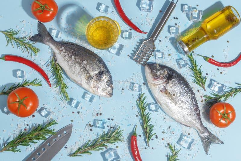 Den rå doradafisken med kryddor, saltar, citronen och örter, rosmarin på enblått bakgrund Top beskådar royaltyfri foto