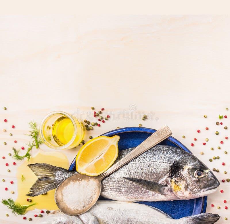 Den rå doradofisken med kryddor, citronen, olja och saltar i blåttplatta på vit träbakgrund royaltyfria bilder