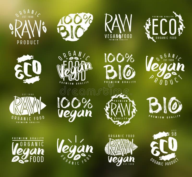 Den rå strikt vegetarian märker, emblem och designbeståndsdelar vektor illustrationer