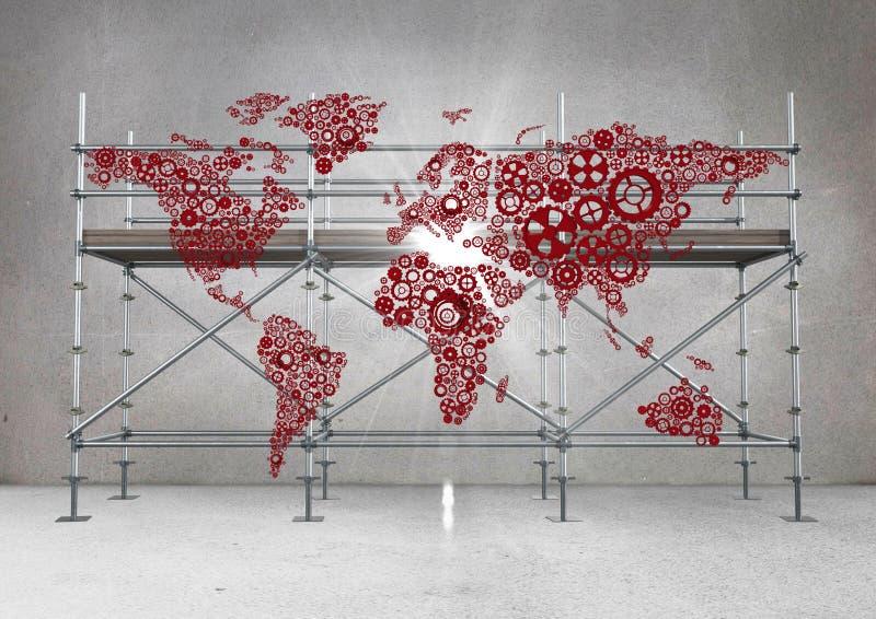 Den röda översikten och signalljuset mot materialet till byggnadsställning i grå färger hyr rum stock illustrationer