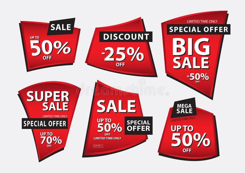 Den röda banervektorn, den Sale banermallen, band sänker isolerat, etiketter, klistermärkear, etiketter, rabatten, symbolsvektor vektor illustrationer