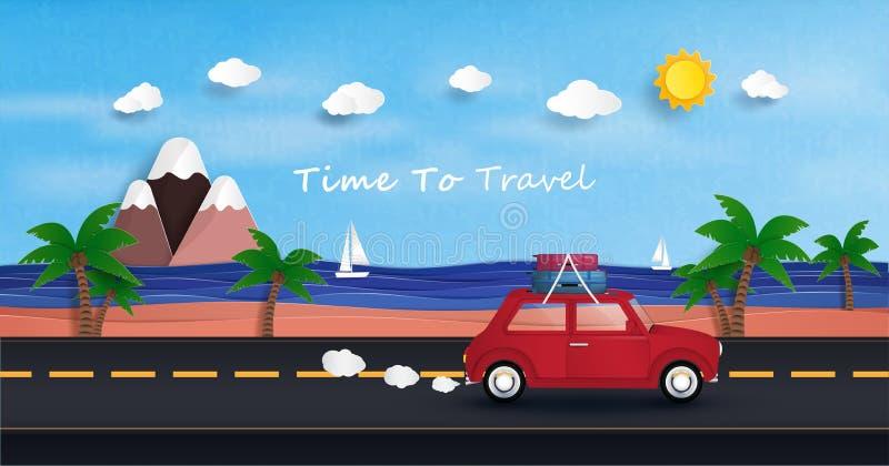 Den röda bilen kör för att resa Och att koppla av i havet under ferierna vektor illustrationer